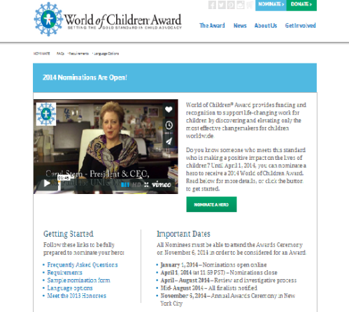 Nomination open for World of Children Grant Awards